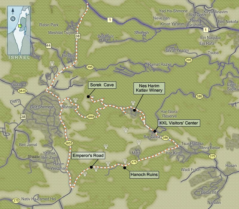 Map Of En Shemesh: The Sorek Stalactite Cave And The Emperor's Road